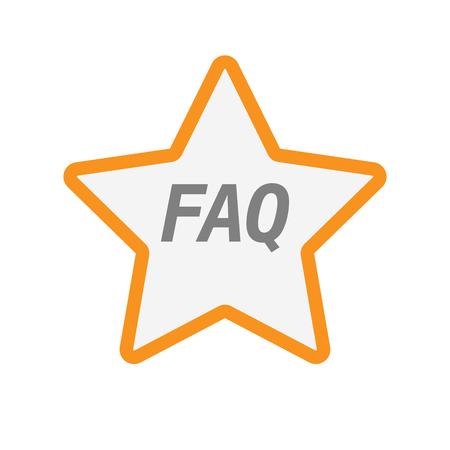 Illustration of an isolated line art star icon with    the text FAQ