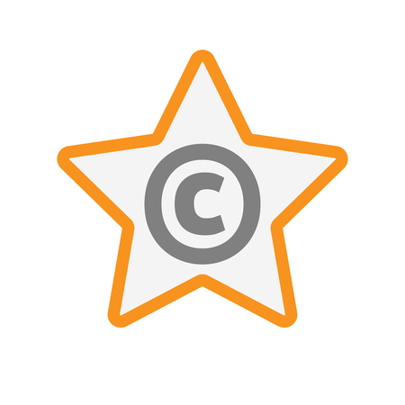 Illustration of an isolated line art star icon with    the  copyright sign
