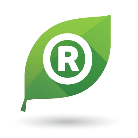 trademark: Illustration of an isolated green leaf ecological icon with    the registered trademark symbol