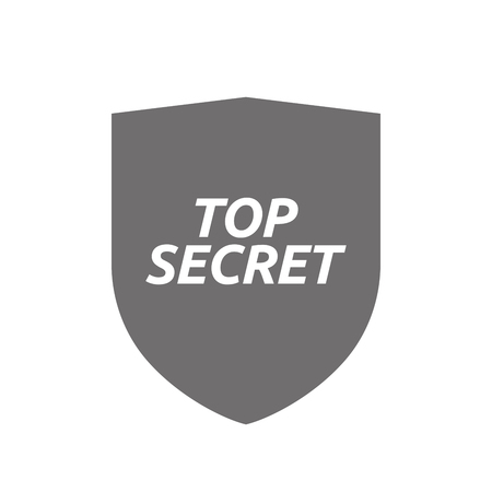 secret word: Illustration of an isolated protecting shield or insignia icon with    the text TOP SECRET