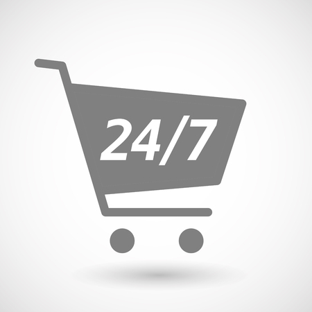 hopping: Illustration of an isolated hopping cart icon with    the text 247 Illustration