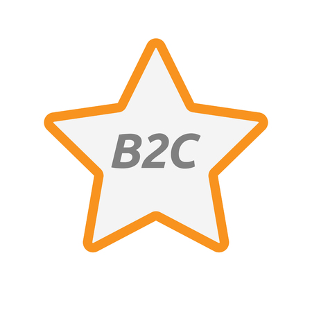 Illustration of an isolated line art star icon with    the text B2C Illustration