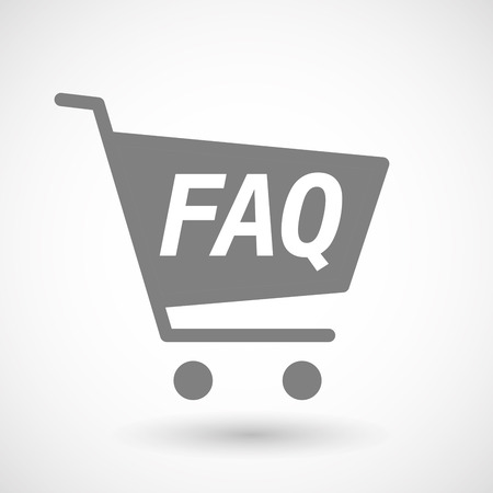 hopping: Illustration of an isolated hopping cart icon with    the text FAQ Illustration