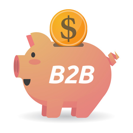 Illustration of a dollar coin entering a piggy bank with    the text B2B Illustration