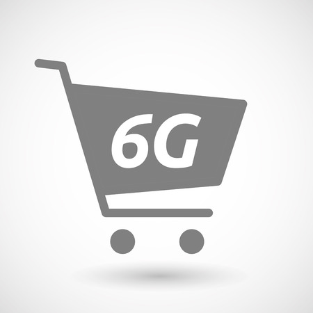 hopping: Illustration of an isolated hopping cart icon with    the text 6G