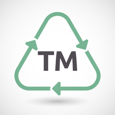 Illustration of an isolated green ecological recycle sign with    the text TM