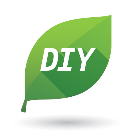 do it: Illustration of an isolated green leaf ecological icon with    the text DIY