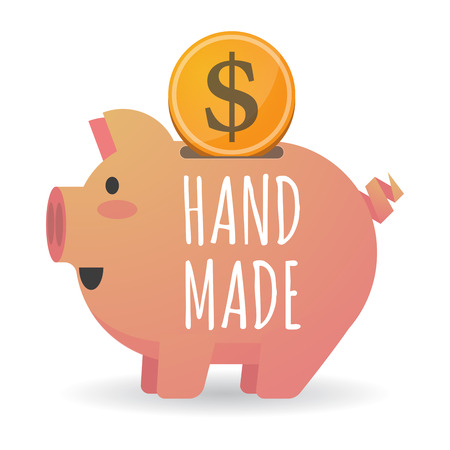 do it: Illustration of a dollar coin entering a piggy bank with    the text HAND MADE