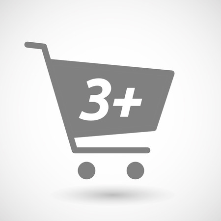 hopping: Illustration of an isolated hopping cart icon with    the text 3+