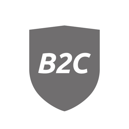 b2c: Illustration of an isolated protecting shield or insignia icon with    the text B2C