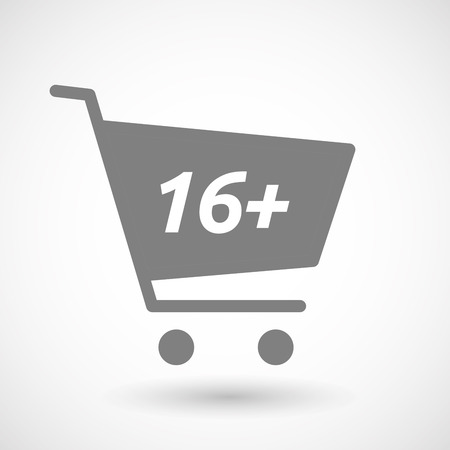 hopping: Illustration of an isolated hopping cart icon with    the text 16+