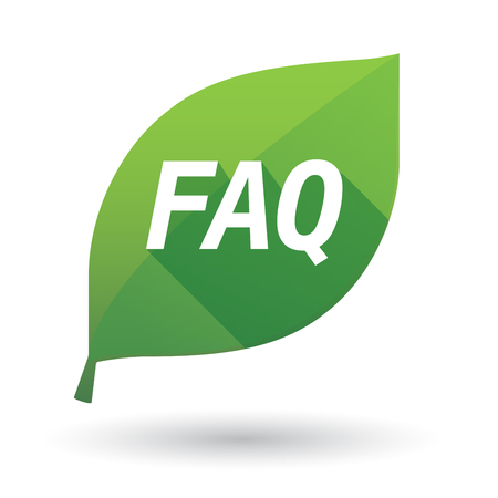 Illustration of an isolated green leaf ecological icon with    the text FAQ