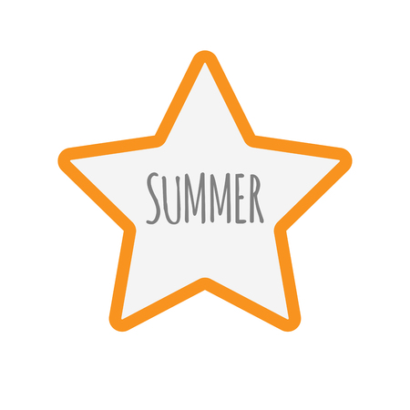 Illustration of an isolated line art star icon with    the text SUMMER Illustration