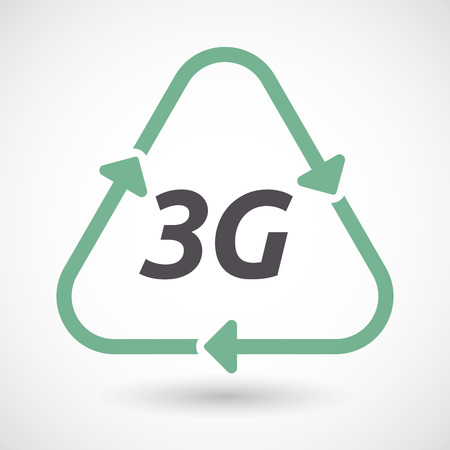 Illustration of an isolated green ecological recycle sign with    the text 3G