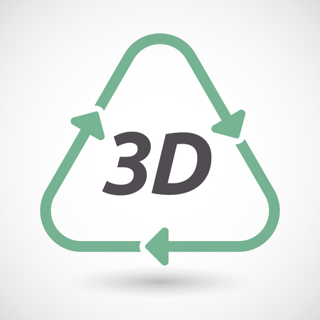 text 3d: Illustration of an isolated green ecological recycle sign with    the text 3D
