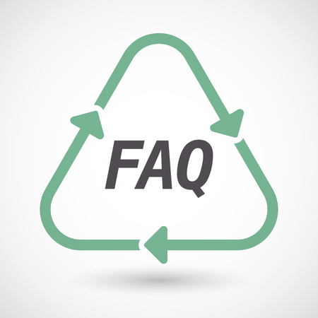 Illustration of an isolated green ecological recycle sign with    the text FAQ Illustration