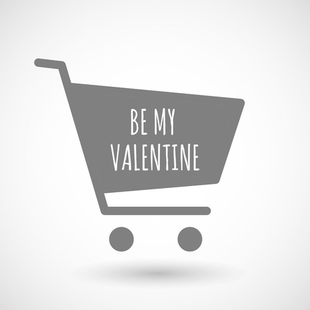 hopping: Illustration of an isolated hopping cart icon with    the text BE MY VALENTINE Illustration