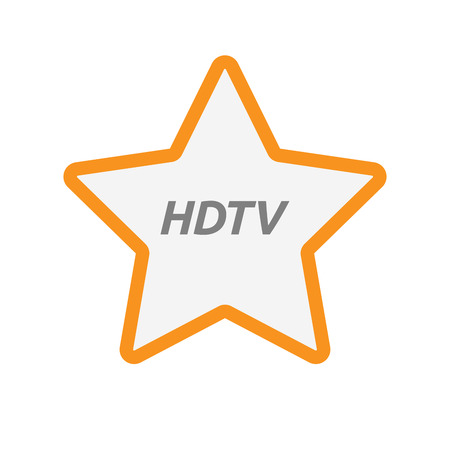Illustration of an isolated line art star icon with    the text HDTV Illustration