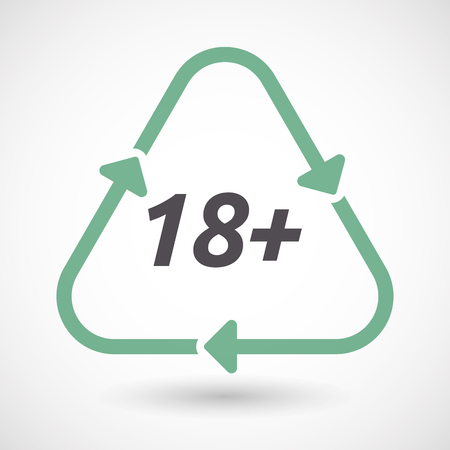 Illustration of an isolated green ecological recycle sign with    the text 18+