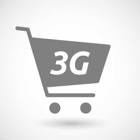 3g: Illustration of an isolated hopping cart icon with    the text 3G