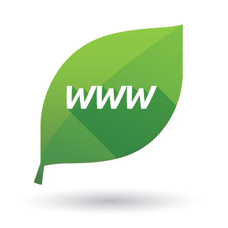 Illustration of an isolated green leaf ecological icon with    the text WWW