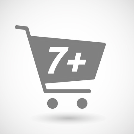 hopping: Illustration of an isolated hopping cart icon with    the text 7+