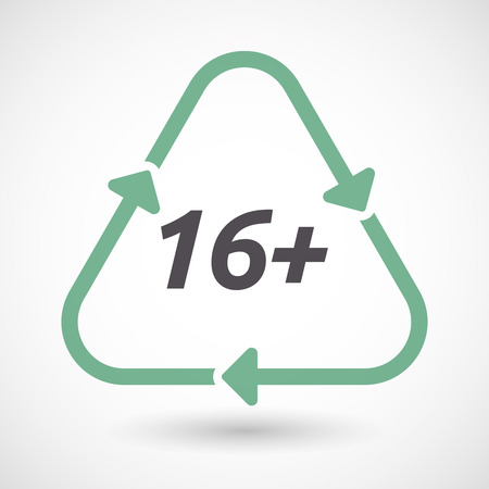 Illustration of an isolated green ecological recycle sign with    the text 16+