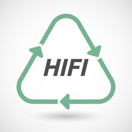 fidelity: Illustration of an isolated green ecological recycle sign with    the text HIFI Illustration