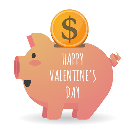 Illustration of a dollar coin entering a piggy bank with    the text HAPPY VALENTINES DAY