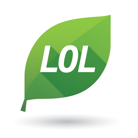 Illustration of an isolated green leaf ecological icon with    the text LOL
