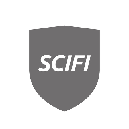 speculative: Illustration of an isolated protecting shield or insignia icon with   the text SCIFI  Illustration