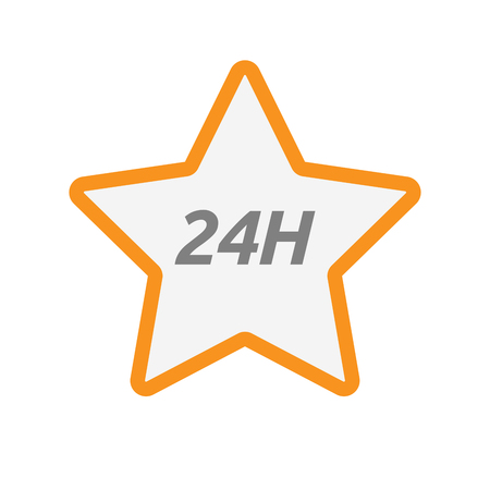 Illustration of an isolated line art star icon with    the text 24H Illustration