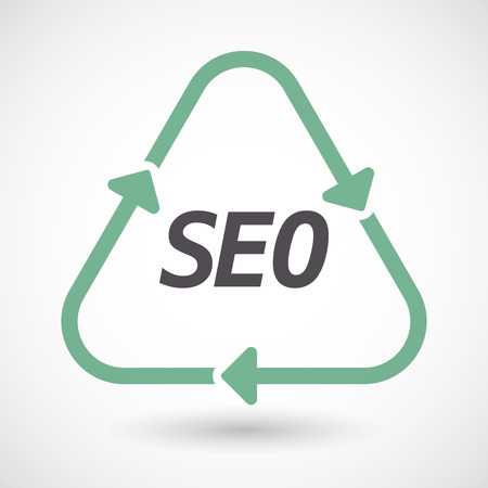 Illustration of an isolated green ecological recycle sign with    the text SEO