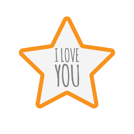 Illustration of an isolated line art star icon with    the text I LOVE YOU