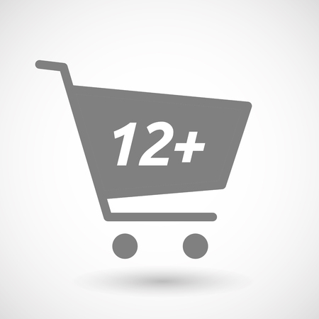 hopping: Illustration of an isolated hopping cart icon with    the text 12+