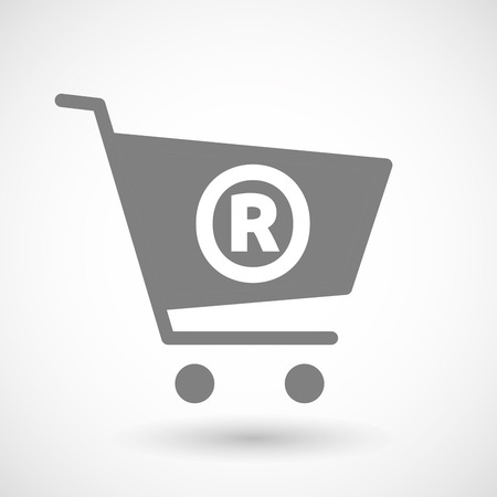 hopping: Illustration of an isolated hopping cart icon with    the registered trademark symbol