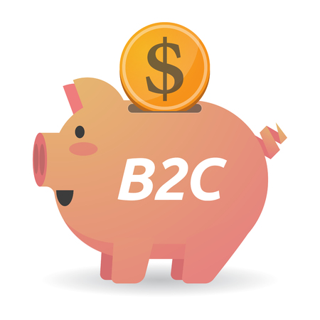 b2c: Illustration of a dollar coin entering a piggy bank with    the text B2C