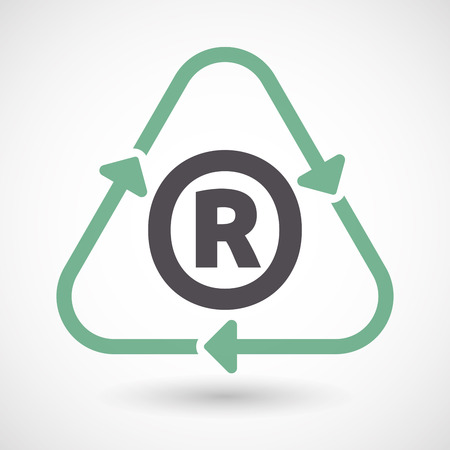 Illustration of an isolated green ecological recycle sign with    the registered trademark symbol