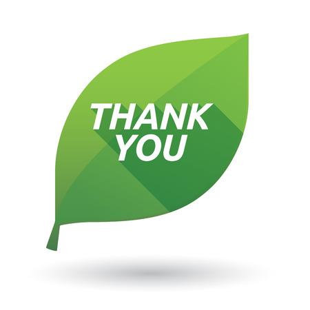 テキストありがとうございますと孤立した緑葉生態アイコンのイラスト