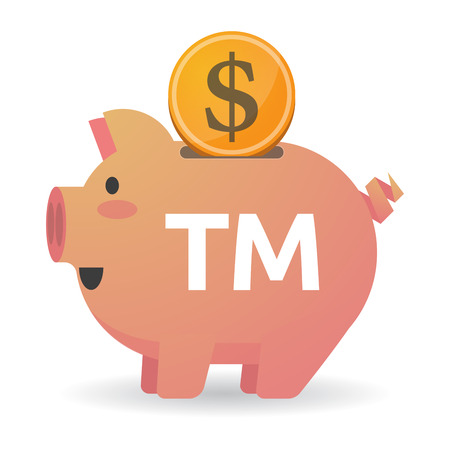 Illustration of a dollar coin entering a piggy bank with    the text TM Illustration