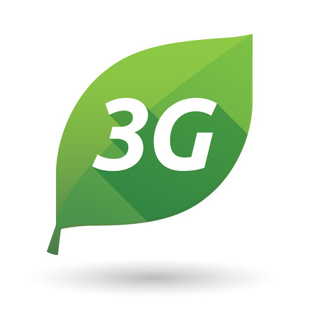 3g: Illustration of an isolated green leaf ecological icon with    the text 3G
