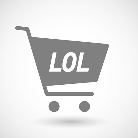 hopping: Illustration of an isolated hopping cart icon with    the text LOL