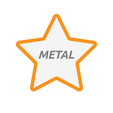 Illustration of an isolated line art star icon with    the text METAL Illustration