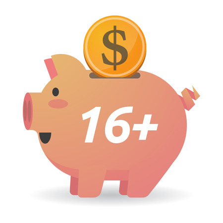 Illustration of a dollar coin entering a piggy bank with    the text 16+