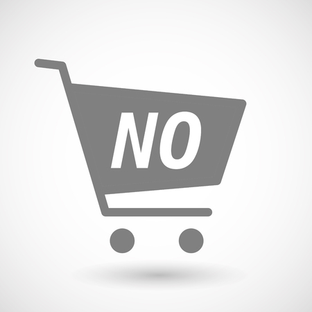 hopping: Illustration of an isolated hopping cart icon with    the text NO