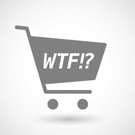 hopping: Illustration of an isolated hopping cart icon with    the text WTF!? Illustration