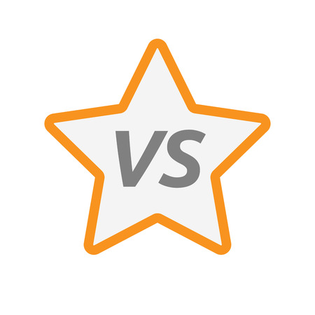 Illustration of an isolated line art star icon with    the text VS Illustration