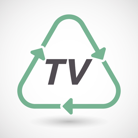 Illustration of an isolated green ecological recycle sign with    the text TV