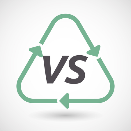 Illustration of an isolated green ecological recycle sign with    the text VS