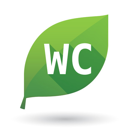 Illustration of an isolated green leaf ecological icon with    the text WC Illustration